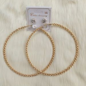 Large gold hoop earrings with faux diamond studs