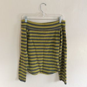 H&M Off Shoulder Striped Long Sleeve Top