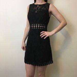 Free People Dresses & Skirts - FREE PEOPLE Black Cut Out Crochet Knit Dress