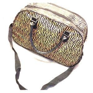 Black and Gold Zebra Print Duffle Bag