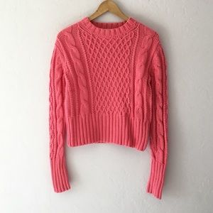 Acne Sweaters - Acne Lia Cable Knit Cropped Sweater