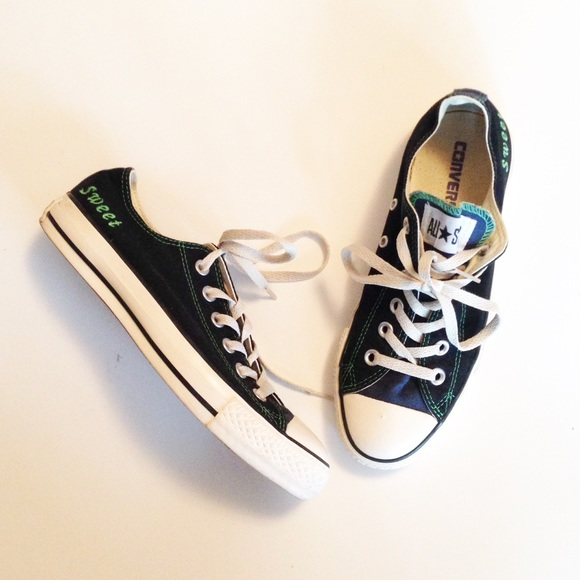 c1b83f1b719087 Converse Shoes - Converse Sweet Black All Star Low Custom Green