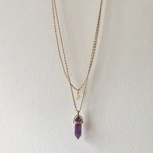 Jewelry - Amethyst Stone and Moon Necklace
