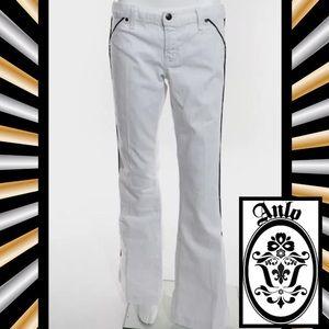 Anlo Denim - ANLO Perfect White/Black Stripe Flare Leg Jeans