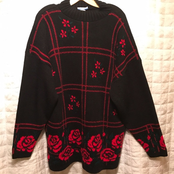Vintage Sweaters Tunic Black Sweater Red Roses 1x Poshmark