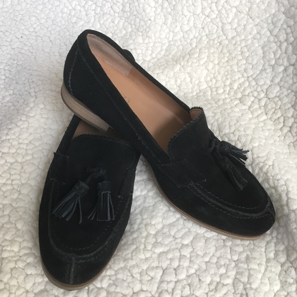 Franco Sarto Black Suede Tassel Loafers