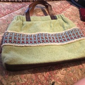 Orla Keily Handbags - Orla Kiely Wool Handbag with Leather Trim