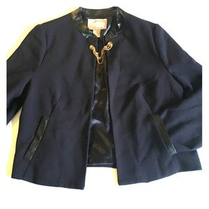 Forever 21 Jackets & Blazers - Forever21 Navy Faux Leather Jewel Button Blazer