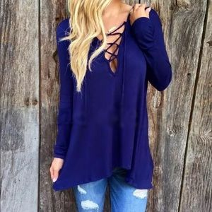 Royal Blue Lace Up Hoodie