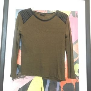 Zara Tops - LS tee with faux leather details