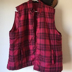 Jackets & Blazers - 3X plaid puffer vest plus size red