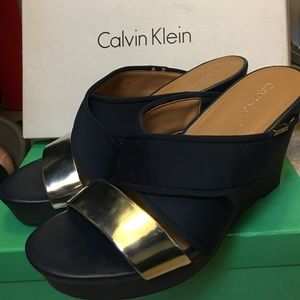 200fd117fbe0 Calvin Klein Shoes - Navy blue and silver CK sandals