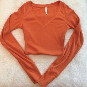 Lilu Tops - Lilu Ribbed Orange Long Sleeve Shirt