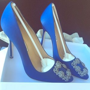 Manolo Blahnik Shoes - NIB Manolo Blahnik 115mm Hangisi Satin Pumps, Blue