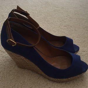 Cobalt Blue Zara Ankle Strap Wedge Heels