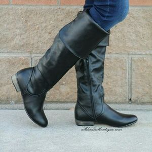 Bamboo Shoes - Bamboo Odell Over the Knee Boots Black