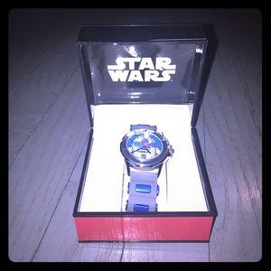 Star Wars Accessories - Star Wars R2D2 gray & blue rubber band watch