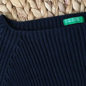 United Colors Of Benetton Sweaters - BENETTON Navy Fitted Ribbed Sweater