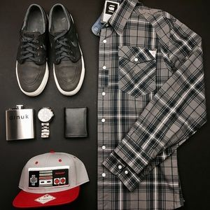 G-Star Other - G-STAR RAW Grey and Blue Plaid Button Down