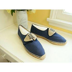 Anthropologie Shoes - Sarah Flint Navy /Gold Linen & Leather Espadrilles