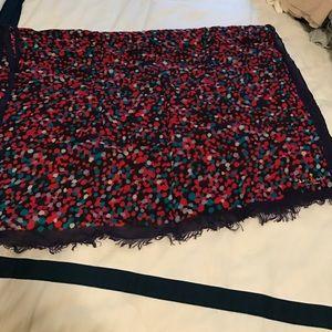 Kate spade multi colored dot purple scarf