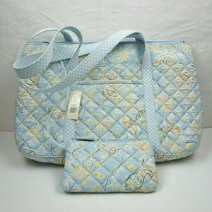 Amanda Smith Handbags - Blue Floral Quilt Handbag with attached Wallet
