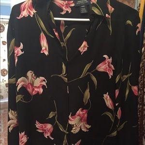Jones New York silk black floral blouse