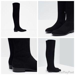 ZARA: Black over the Knee suede boots