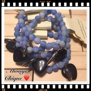 Boho Gypsy Sisters Jewelry - Blue Heart Agate Bracelet (1 Bracelet) 🎉