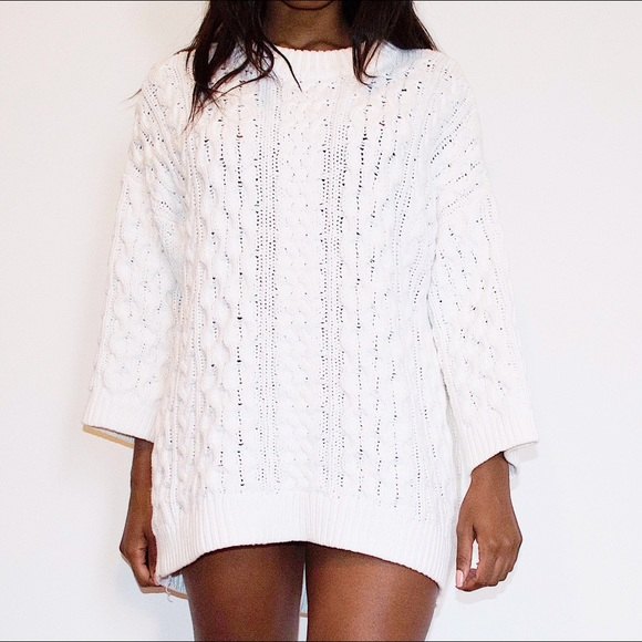 Hm Sweaters Hm White Cable Knit Oversized Sweater Poshmark