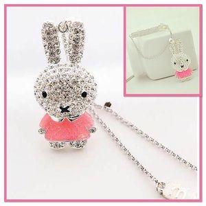 Rose Pink Enamel Bunny Pendant