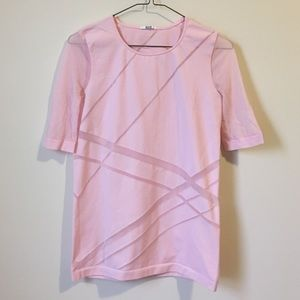 • Wolford Pink geometric sheer panel top size M•