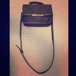 Black Crossbody Bag w/ Top handle & Gold Hardware