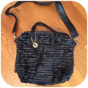 Charles Jourdan Handbags - Black Woven Leather Charles Jourdan Crossbody Tote
