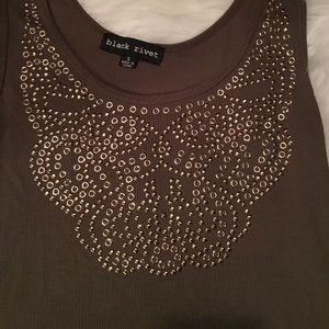 Black Rivet Tops - Olive green tank top with gold embellishments