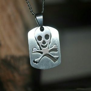 Jewelry - Silver Skull Dog Tag Necklace 💀