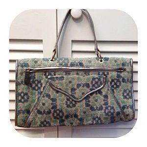 Tocca Handbags - Tocca Blue/Green/Silver Flocked Envelope Bag