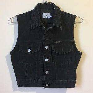 • Calvin Klein CK black Jean Vest size S•