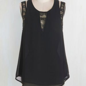 Modcloth Black Sheer Top