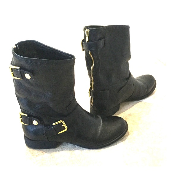 ce013fde6db Black leather moto boot with gold metal detail