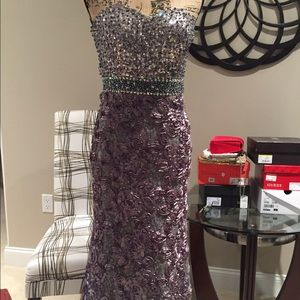 Jovani!!  Fitted pewter gown.