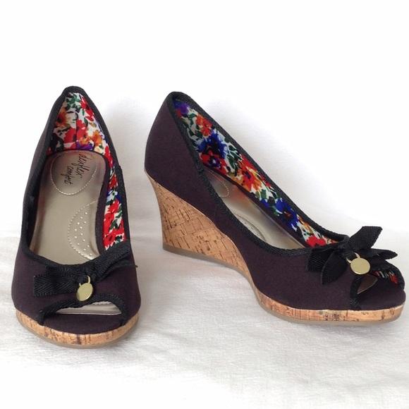 1264a2162b4 NIB black canvas and cork peep toe wedge shoes