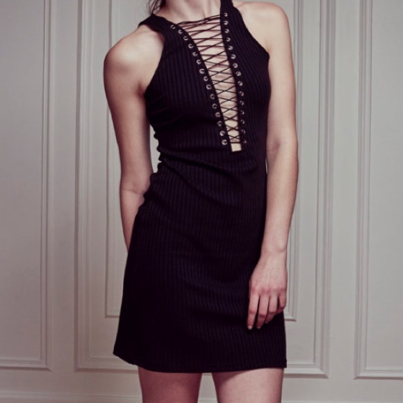 Dresses & Skirts - Black Mini Lace-Up Dress