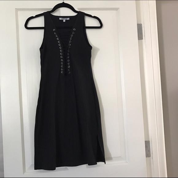 Dresses - Black Mini Lace-Up Dress
