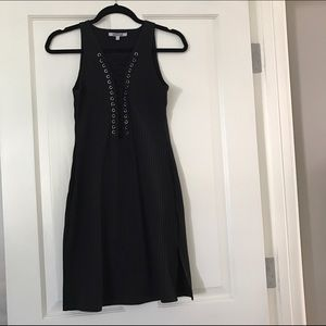 Dresses - Black Mini Lace-Up Dress