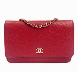 CHANEL Handbags - Auth Chanel Red Camellia WOC LambSkin. Like New.