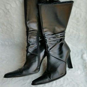 Bebe Midcalf Black Leather Boots