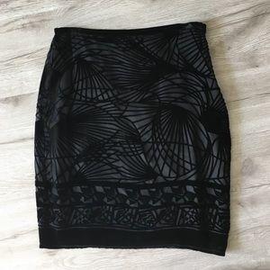 Studio M Dresses & Skirts - Black velvet cut-out pencil skirt, size 2