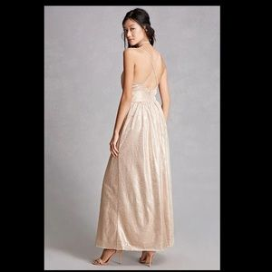 Dresses & Skirts - Metallic Champagne Gold Maxi Dress