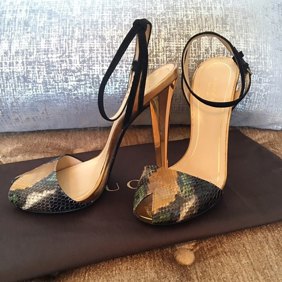 a1137cacfc8 Gucci Shoes - Gucci Ophelie Snakeskin Ankle-strap Sandals